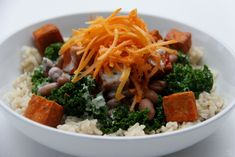 Buffalo Tofu Power Bowl: Try opting for black beans over pinto. #vegan