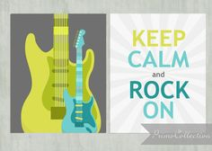 Tween or Teen bedroom decor / Wall Art Prints / Keep Calm and Rock On / lime green, gray, turquoise / guitars / by PrimoCollection