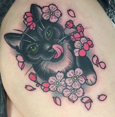I'd probably get Felix in there and sneak his fish in there too | traditional cat tattoo - Google Search