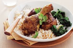Indian-spiced chicken with coconut rice