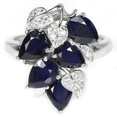5 karaat blauwe natuurlijke saffier edelstenen 925 zilveren ring 57
