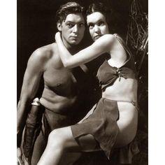 Johnny Weissmuller Maureen O'Sullivan - Tarzan and Jane Photo ❤ liked on Polyvore