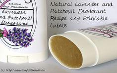 Natural DIY Beauty and Skin Care - Vegan Handmade Lavender Patchouli Deodorant Recipe with Printable Labels
