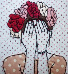 RESERVED  Casey loves Max. Hes burly, bearded and brave. Hes just asked Casey to marry him. Oh my goodness, she needs to cover her ugly crying ecstatic face!  This hand-stitched piece of art was made with care and no two are exactly the same. She looks lovely with her other floral crown buddies too.  Details: - Stretched over 4x4inch canvas - Depth of 1 1/2 inch - Background cotton fabric in cream with red dashes - Other colours: Black, Red, Maroon, Peach, Dusty pink, Brown - Lightweight…