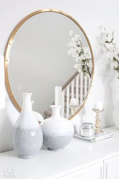 Bright White Entry – Coastal Glam Style   #whiteinterior #interior #interiorinspiration #entryway #entrywaydecorideas #coastal #Chandelier #transitional