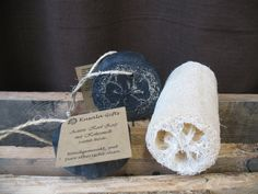 Active Charcoal Soap with Coconut Milk  Loofah by KusalaGifts