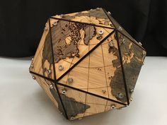 This is a follow on from my previous build on Platonic Solids. It's an implementation of the Fuller Projection: https://en.wikipedia.org/wiki/Dymaxion_map in 3D using 3D printed verticies and laser cut faces. Note: this is decended from this image here: https://en.wikipedia.org/wiki/Dymaxion_map#/media/File:Fuller_projection_rotated.svg Made by Eric Gaba – Wikimedia Commons user: Sting