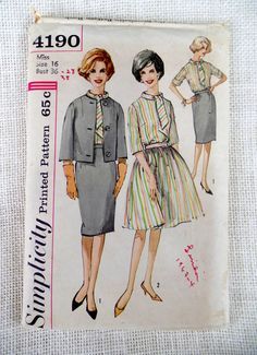 Vintage Pattern 1960s 1964 Simplicity 5642 Sewing Two piece dress full skirt Jackie Kennedy suit Bust 36 scarf tie collar pencil jacket