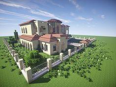California Mansion minecraft house modern building ideas 2