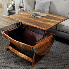 Buy the Reclaimed Wine Barrel Coffee Table With Unique Lift-Top at Wine Enthusiast – we are your ultimate destination for wine storage, wine accessories, gifts and more! Wine Barrel Coffee Table, Whiskey Barrel Furniture, Rustic Furniture, Cool Furniture, Barrel Projects, Gun Storage, A Table, Wooden Barrel Ideas, Woodworking