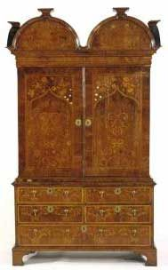 Dutch Marquetry Cabinet  William and Mary furniture was graceful and decorative, it had a well-developed sense of display and articulation.