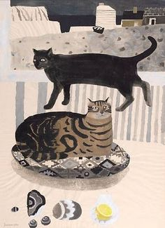 Mary Feddon's lovely cats by the sea - the yellow lemon perfectly placed