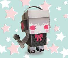 DIY  - Paper Toy Box  - Headphone Girl - Printable PDF 300dpi digital file