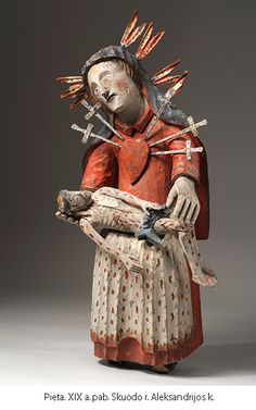 Folk wooden sculpture 'Pieta'. XIX c.