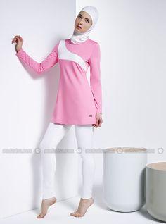 Wave Patterned Swimsuit - Pink - Mayovera Hajib Fashion, Muslim Fashion, Womens Fashion, Modest Dresses, Modest Outfits, Islamic Swimwear, Swimsuit Pattern, Pink Swimsuit, Swimming Costume