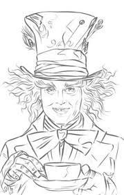 Image result for alice in wonderland tea party scene colouring page johnny depp