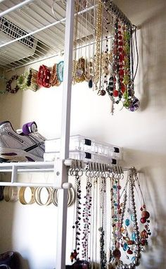 Use Riktig curtain hooks to keep your jewelry neat. | 37 Clever Ways To Organize Your Entire Life With Ikea