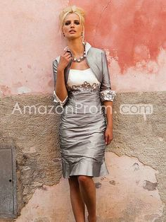 Sheath/Column Sweetheart Sleeveless Applique Knee-length Satin Mother of the Bride Dress