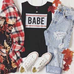 BABE tank with jeans, converse, and flannel with floral back What To Wear Today, How To Wear, Popular Instagram Accounts, Cute Outfits For School, Fall Outfits, Female, Denim, My Style, Womens Fashion