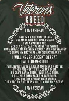 Discover Veteran's Creed T-Shirt from Veteran's Tees & Apparel, a custom product made just for you by Teespring. With world-class production and customer support, your satisfaction is guaranteed. - Veterans Creed Veteran's Creed I Am A. Army Quotes, Military Quotes, Military Humor, Military Veterans, Military Life, Airborne Army, Us Army Infantry, Us Army Soldier, Army Times