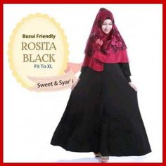 baju muslim syari busui rosita black