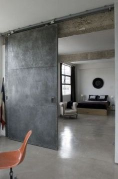 polished concrete floors and steel barn door -- love industrial look Industrial Door, Industrial Living, Industrial Interiors, Industrial Design, Modern Industrial, Industrial Apartment, Industrial Office, Industrial Farmhouse, Industrial Shelving