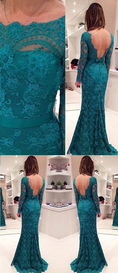 Long Sleeve Lace Prom Dress, Backless Mermaid Evening Gowns with Buttons, Illusion Prom Dress, #020102175
