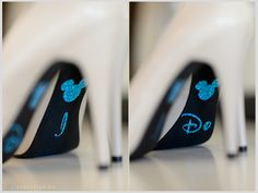 Wedding photo idea for a Disney  themed wedding or Disney lover wedding with blue stickers on soles \\ Photo Credit: Sebastian Ho Photography #Disneywedding #bluewedding Blackandwhitewedding #Disney