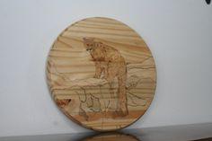 Wood Burn Art / Mountain Lion Burned on Spruce Round by BrashersWoodDesigns on Etsy Natural Wood Crafts, Wood Burning Art, Mountain Lion, Etsy