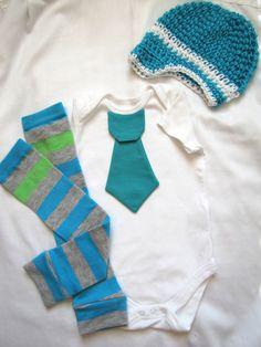 Baby boy tie onesie/bodysuit, crochet hat and leg warmer set, green. blue, short or long sleeves, spring, Baby boy fashion, photo prop