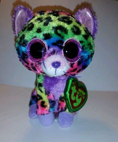 """Lexi 9.99 TY BEANIE BOO TRIXIE RAINBOW LEOPARD 6"""" JUSTICE EXCLUSIVE 2014 MWMT TAG CASE #Ty"""