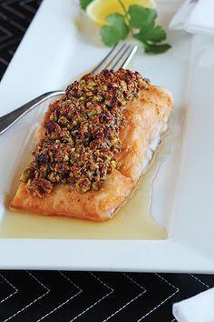 Maple Pistachio Crusted Salmon