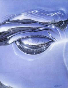 Gregory Bridges, 1986 The Eye of the Future 760 x 510 Gouache and Airbrush on Board New Retro Wave, Arte Cyberpunk, Futuristic Art, Airbrush Art, Retro Futurism, Grafik Design, Blue Aesthetic, Vaporwave, Cover Art