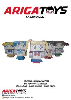 Kit Papercraft Sailor Moon com 5 personagens. Vem 6 folhas desmontadas, para recortar, dobrar e colar! apenas R$ 12,00  Bora se divertir??!!