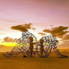 "Your inner child knows the way, let them out to love and play. So incredibly moved by this epic art installation from this year's Burning Man. ""Love"" by Alexandr Milov ✨ #burningman #loveistheanswer #innerchildwisdom"