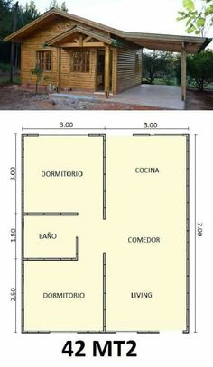 Simple and practical design Little House Plans, Small House Floor Plans, Simple House Design, Tiny House Design, House Layout Plans, House Layouts, Tiny House Cabin, Bedroom House Plans, Cabin Plans