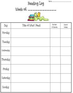 This is a variety of four different reading logs. Each reading log is slightly different to fit your needs. You can choose which one you want to use.Each reading log features slots to fill in the title of what was read, minutes read and parent initials. 1st Grade Writing, 4th Grade Reading, Teaching Kindergarten, Kindergarten Homework, Weekly Reading Logs, Guided Reading, Teaching Reading, Learning, Teacher Forms