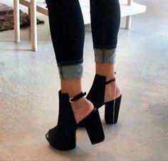 black suede chunky heel mid heel buckle peep toe high heel High Heels - thigh high heel, black high heels pumps
