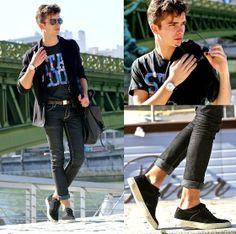 Ray Ban Aviator Sunnies, Sismeek Watch, Cheap Monday Skinny Jeans, Asc (Amsterdam Shoes Company) Lambskin & Leather Sneakers, Jack & Jones T Shirt, Black Blazer