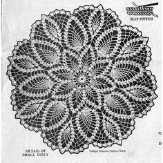 Vintage th is Mail Order Crochet Pattern, Design gives directions for doilies, in a flower motif, worked in pineapple stitch. The doilies may be crocheted at 6 different sizes for 9 to 32 inches in diameter. Vintage Crochet Doily Pattern, Crochet Tablecloth Pattern, Crochet Mandala Pattern, Granny Square Crochet Pattern, Crochet Flower Patterns, Crochet Art, Hand Crochet, Crochet Hooks, Crochet Granny