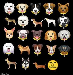 The UK's largest welfare charity has launched the first ever dog emoji keyboard to let people represent 23 of the most popular breeds (all shown)