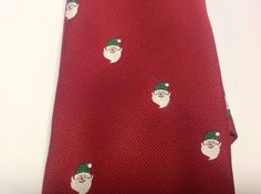 Red Necktie with Santa Claus with Green Hat Christmas Tie Made in USA #Unbranded #NeckTie