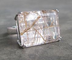 Gold Rutilated Quartz Rutile Quartz Chunky Ring by Belesas on Etsy