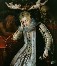 This charming (?) portrait shows Elizabeth near the end of her life. Note the skeleton leering over her shoulder. Did they dare to show this to her before she died?