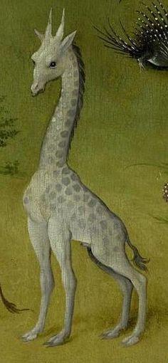 Hieronymus Bosch, The Garden of Earthly Delights, between 1490 and 1510 (Prado, Madrid). Detail: giraffe.