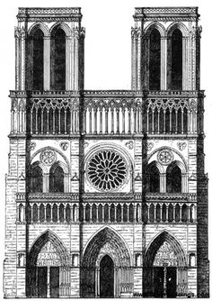 La Cathedrale de Notre Dame de Paris. Iconic, with or without resident hunchback. Image courtesy of amazing site called greatbuildings.com
