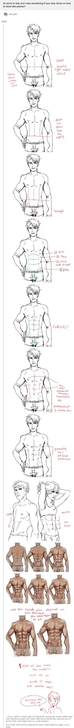 Manga Drawing Tips how to draw abs - Body Reference, Anatomy Reference, Art Reference Poses, Drawing Reference, Drawing Poses, Drawing Tips, Sketch Drawing, Drawing Ideas, Drawing Art