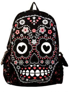 """Women's """"Sugar Skull"""" Backpack (Black)"""