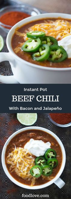 Make the best beef chili ever with the Instant Pot electric pressure cooker! This medium spicy chili gets its knockout flavor from tender chunks of beef a touch of smoky bacon fresh vegetables warm aromatic spices and a surprising secret ingredient. Healthy Family Meals, Easy Healthy Recipes, Easy Meals, Healthy Desserts, Stuffed Jalapenos With Bacon, Stuffed Peppers, Chili Recipes, Soup Recipes, Veggie Recipes