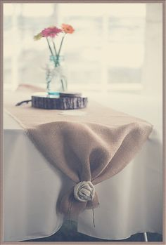 Burlap Table Runner for Weddings, Parties, Special Occasions -- Custom Sizes Available, Burlap Flowers